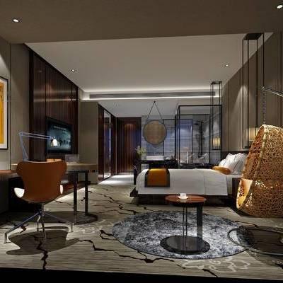 现代卧室, 双人床, 边几, 壁画, 桌子, 椅子, 台灯, 吊灯, 吊椅, 现代