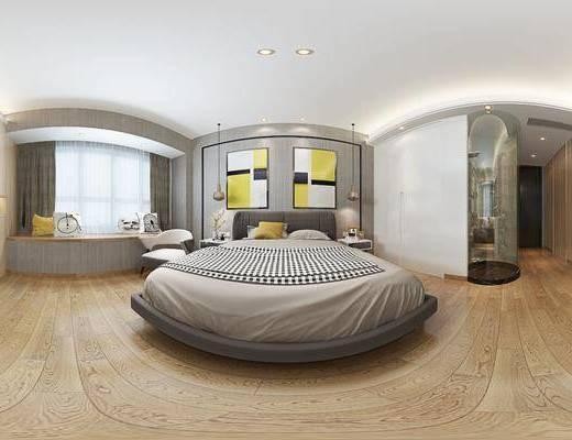 现代简约卧室, 双人床, 现代飘窗, 床头柜, 吊灯, 壁画, 储物柜, 单人沙发椅, 现代