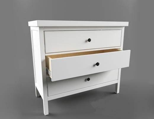 现代简约, 白色, 床头柜, 现代柜