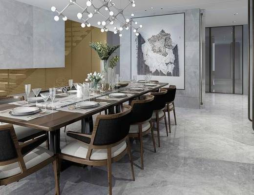 新中式, 餐厅, 餐桌, 椅子, 餐具, 带动鞥, 花瓶, 挂画, 装饰画, 吊灯, 1000套空间酷赠送模型