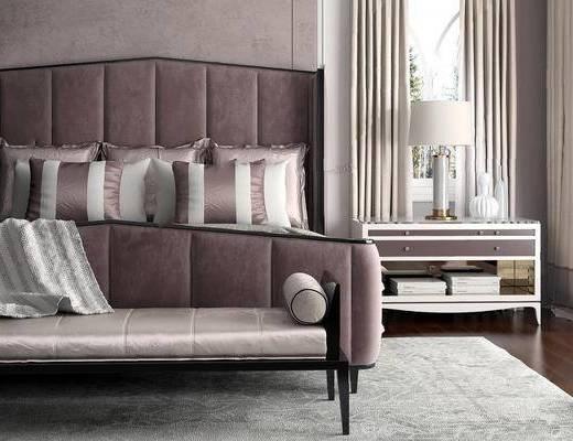 美式简约, 床具组合, 台灯, 沙发椅