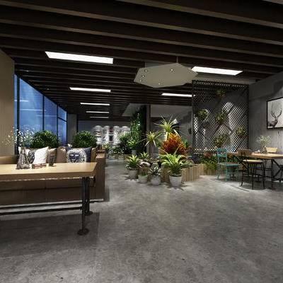 现代咖啡厅, 双人沙发, 壁画, 桌子, 椅子, 盆栽, 现代