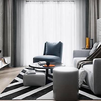 现代客厅, 多人沙发, 茶几, 沙发凳, 落地灯, 边几, 电视柜, 地毯, 现代