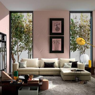 现代简约, 沙发茶几组合, 落地灯, 陈设品组合, 现代