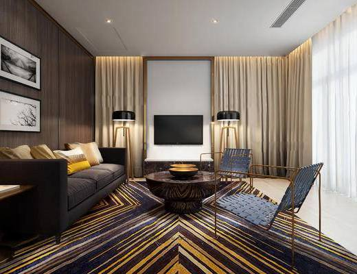 后现代客厅, 壁画, 多人沙发, 落地灯, 茶几, 椅子, 边几, 地毯, 后现代