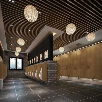 现代卫生间, 小便器, 吊灯, 现代