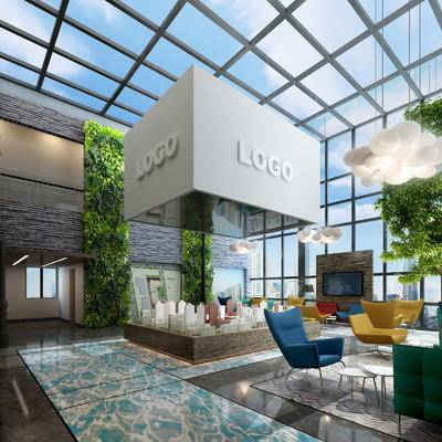 现代售楼部, 吊灯, 沙盘, 椅子, 现代