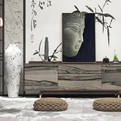边柜, 壁画, 落地灯, 盆栽, 新中式