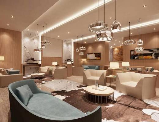 会客区, 多人沙发, 台灯, 吊灯, 茶几, 壁画, 现代