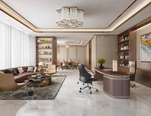 现代简约, 办公室, 桌椅组合, 置物架, 陈设品组合