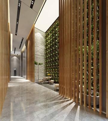 休息区, 凳子, 茶几, 盆栽, 现代