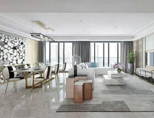 餐厅, 餐桌椅, 花瓶, 沙发, 后现代