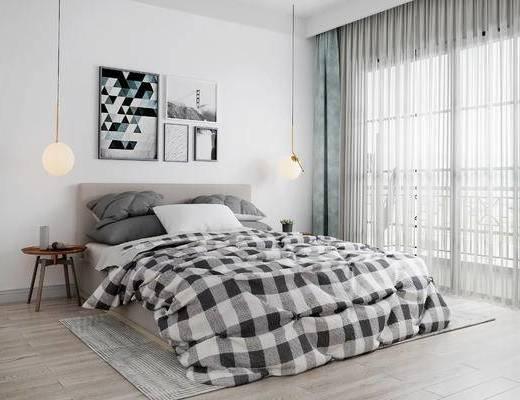 床具组合, 壁画, 吊灯, 边几, 北欧