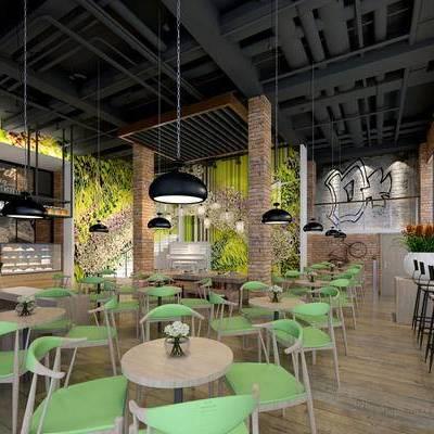 饮料店, 桌子, 椅子, 吊灯, 吧台, 吧椅, 盆栽, 楼梯, 钢琴, 工业风