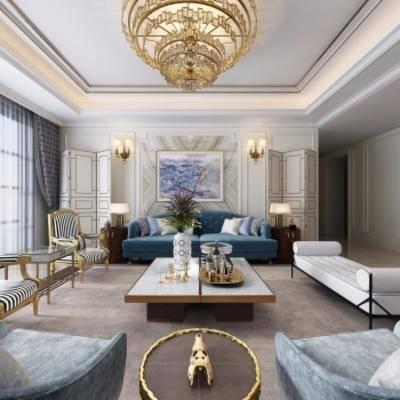 新古典客厅, 沙发茶几组合额, 多人沙发, 单人沙发, 吊灯, 壁画, 花瓶, 台灯, 屏风, 新古典