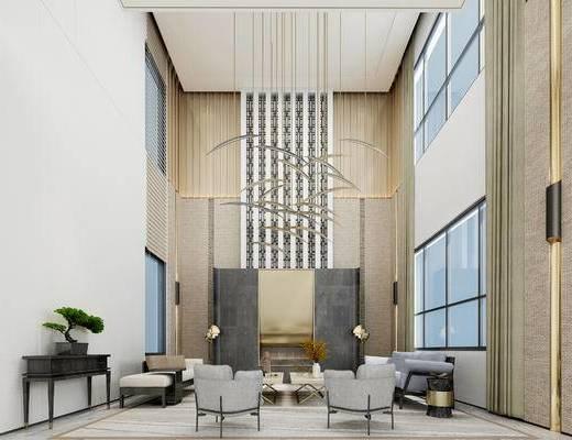 新中式客厅, 吊灯, 边几, 多人沙发, 椅子, 茶几, 盆栽, 新中式