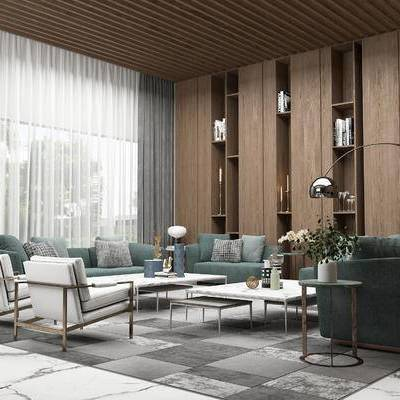 沙发组合, 椅子, 多人沙发, 茶几, 边几, 落地灯, 置物柜, 台灯, 花瓶, 地毯, 现代