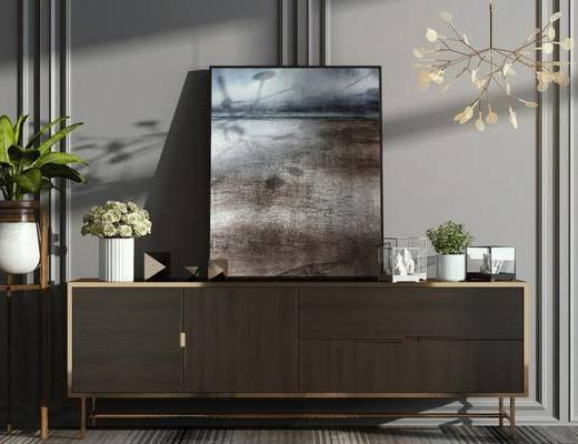 后现代, 柜, 盆栽, 装饰画, 吊灯, 下得乐3888套模型合辑