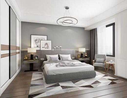 现代卧室, 双人床, 床头柜, 单椅, 摆件, 现代