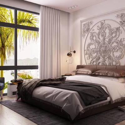 床具组合, 双人床, 椅子, 落地灯, 壁灯, 床头柜, 边几, 现代
