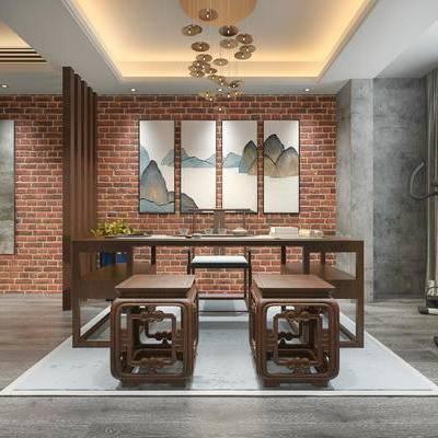 书房, 吊灯, 桌子, 椅子, 中式