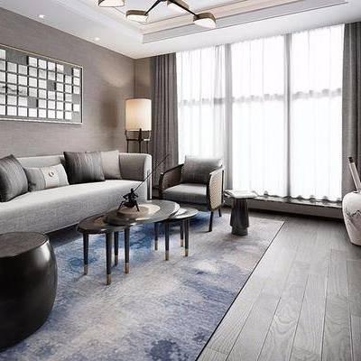 新中式客厅, 多人沙发, 茶几, 吊灯, 边柜, 边几, 花瓶, 落地灯, 台灯, 新中式