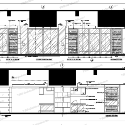 CAD, 施工图, 工装, 学校, 茶餐厅, 梁志天, 大师, 平面图, 立面图
