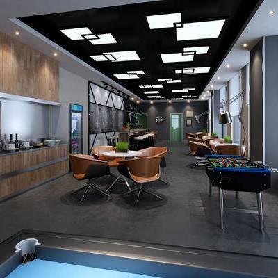 现代咖啡厅, 桌子, 椅子, 吧台, 现代