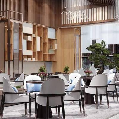 售楼处, 洽谈区, 桌子, 椅子, 置物柜, 盆栽, 花瓶, 现代