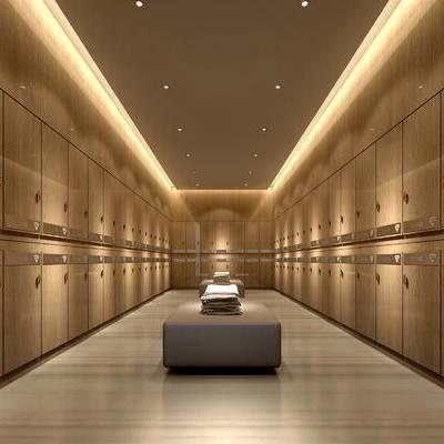 更衣室, 壁灯, 沙发凳, 储物柜, 现代