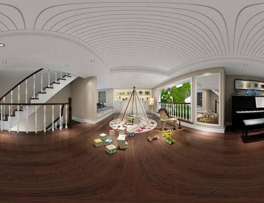 现代玄关过道, 楼梯, 玩具, 壁画, 镜子, 钢琴, 储物柜, 玄关, 现代