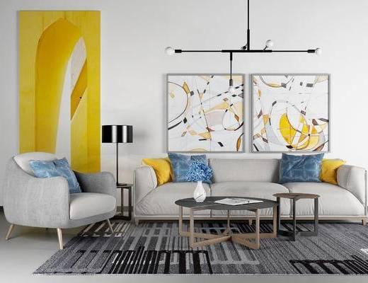 现代沙发组合, 多人沙发, 茶几, 沙发椅, 挂画, 吊灯, 现代