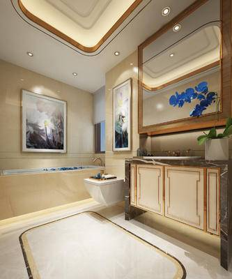 现代卫浴, 洗手台, 马桶, 壁画, 盆栽, 现代