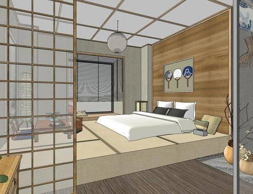 酒店客房, 双人床, 壁画, 吊灯, 浴缸, 边柜, 日式