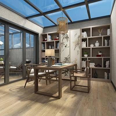 中式书房, 桌子, 椅子, 台灯, 壁画, 置物柜, 吊灯, 中式