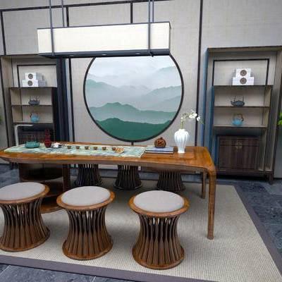 新中式茶室, 桌子, 凳子, 壁画, 置物柜, 盆栽, 新中式