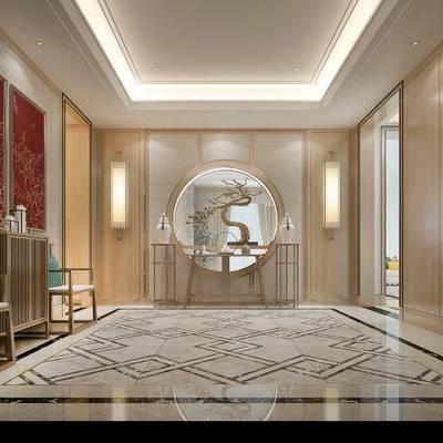 走廊, 壁灯, 椅子, 柜子, 壁画, 中式