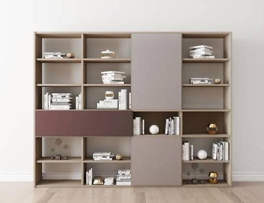 摆件组合, 书籍, 书柜, 现代