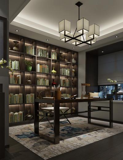 新中式书房, 椅子, 桌子, 置物柜, 壁画, 吊灯, 边柜, 地毯, 新中式