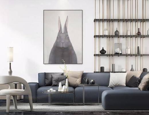 现代简约, 沙发茶几组合, 置物架, 花瓶, 陈设品组合
