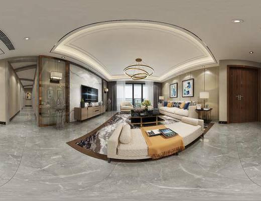 现代客餐厅, 多人沙发, 壁画, 电视柜, 茶几, 椅子, 桌子, 边几, 台灯, 沙发躺椅, 吊灯, 现代