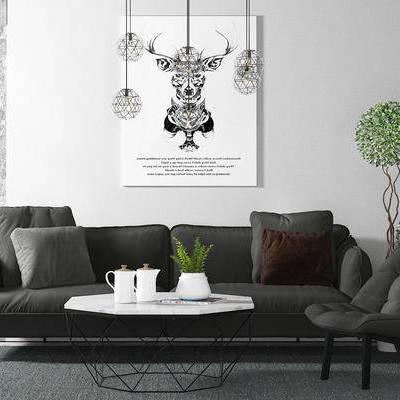 沙发组合, 多人沙发, 茶几, 椅子, 吊灯, 壁画, 盆栽, 现代
