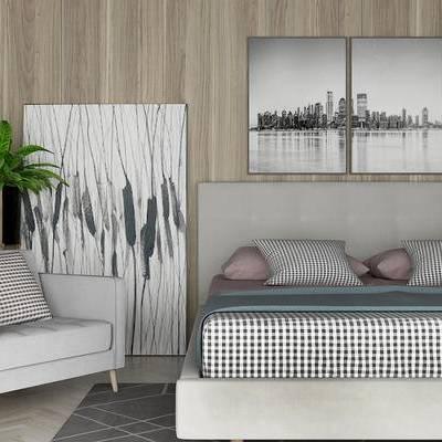 床具组合, 双人床, 椅子, 壁画, 盆栽, 现代
