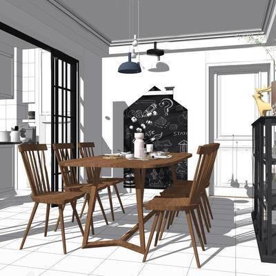 厨房, 北欧, 北欧厨房, 桌椅组合, 吊灯, 置物架