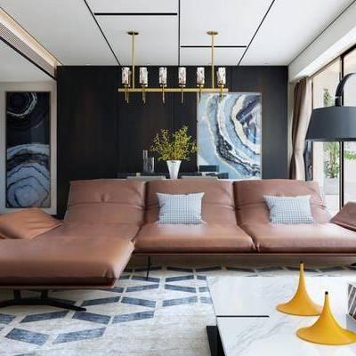 现代客厅, 落地灯, 吊灯, 茶几, 多人沙发, 壁画, 桌子, 椅子, 现代