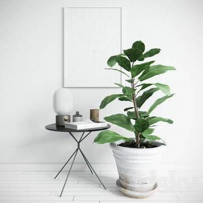 茶几, 盆栽, 摆件, 挂画