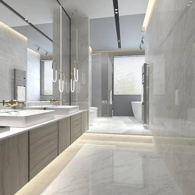 卫浴, 洗手台, 马桶, 吊灯, 淋浴间, 浴缸, 现代