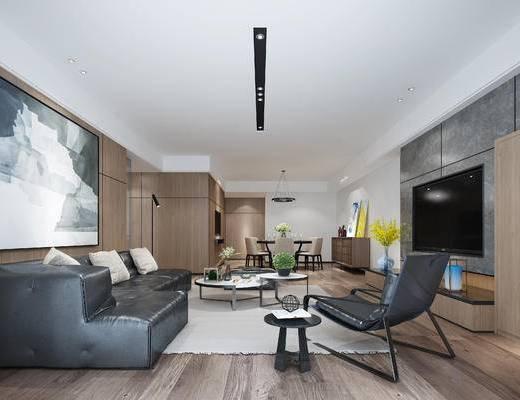 现代客厅, 壁画, 多人沙发, 茶几, 椅子, 电视柜, 吊灯, 桌子, 落地灯, 边柜, 现代