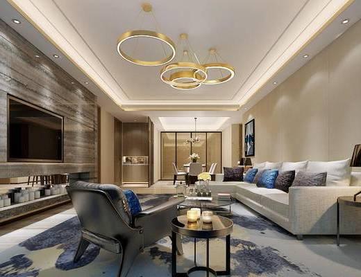 现代, 客厅, 餐厅, 沙发, 茶几, 吊灯, 边几, 餐桌, 椅子, 挂画
