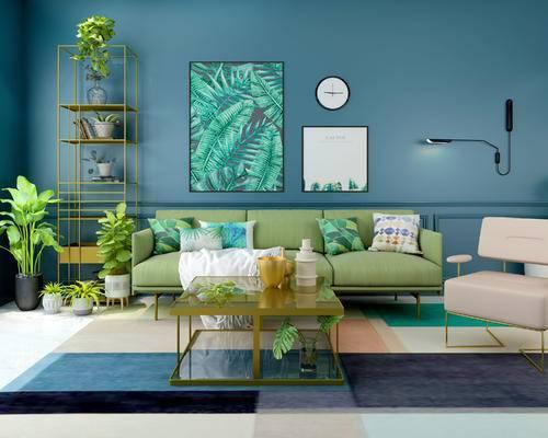 北欧客厅, 多人沙发, 壁画, 时钟, 壁灯, 椅子, 置物架, 盆栽, 茶几, 地毯, 北欧